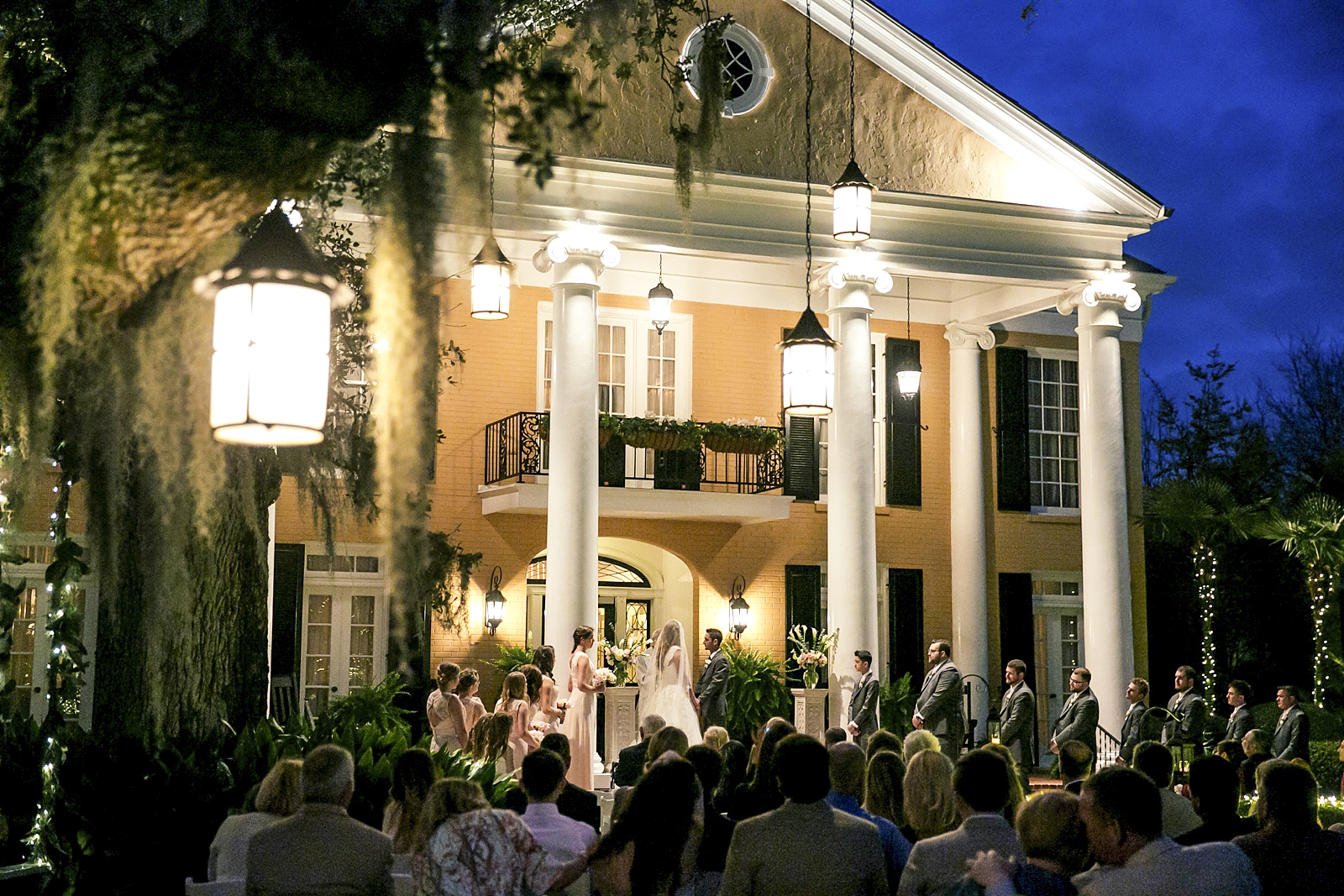 New Orleans Wedding at Southern Oaks Plantation, Featured in Southern Bride. Beautiful Lanterns surrounded this plantation and created an ambiant feel.