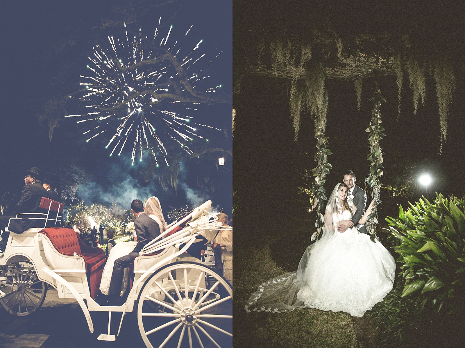 New Orleans Wedding at Southern Oaks Plantation, Featured in Southern Bride. They ended the ceremony with a horse drawn carriage and a firework send off!