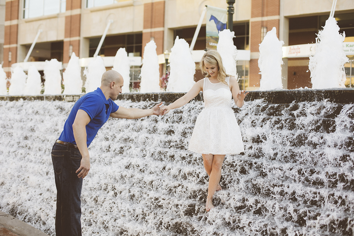 Engagement Session done at Triangle Park in Lexington, Kentucky. The waterfalls are a great feature for photography.