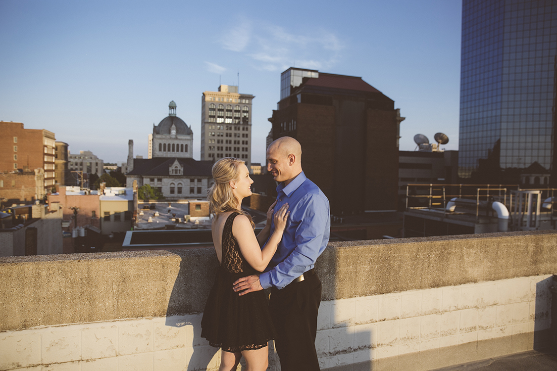 This amazing Save the Date shoot was shot downtown Lexington, Kentucky. The top of this parking garage gave us a great view of the cityscape.